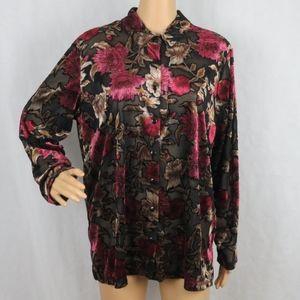 Sheer Mesh Floral Blouse Velvet Rose XL Laura Scot